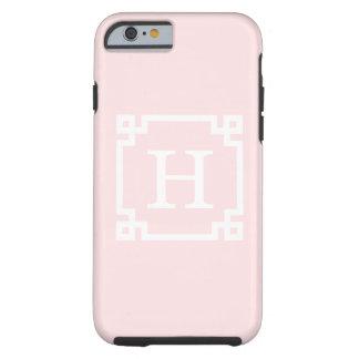 Light Pink Greek Key Frame #2 Initial Monogram Tough iPhone 6 Case