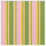 [ Thumbnail: Light Pink, Green, and Yellow Stripes Fabric ]