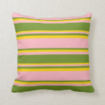 [ Thumbnail: Light Pink, Green, and Yellow Stripes Throw Pillow ]