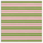[ Thumbnail: Light Pink & Green Colored Striped/Lined Pattern Fabric ]