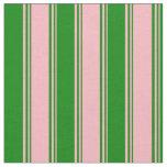 [ Thumbnail: Light Pink & Green Lines/Stripes Pattern Fabric ]