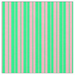 [ Thumbnail: Light Pink & Green Pattern of Stripes Fabric ]