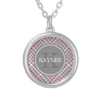 Light Pink Grey Plaid Pattern with Monogram Silver Plated Necklace