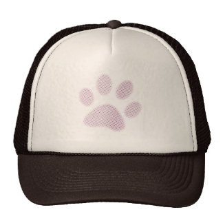 Light Pink Halftone Paw Print Mesh Hats
