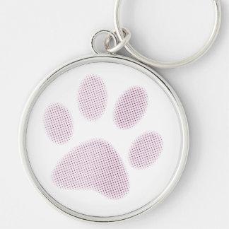 Light Pink Halftone Paw Print Keychain