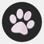 Light Pink Halftone Paw Print Round Stickers