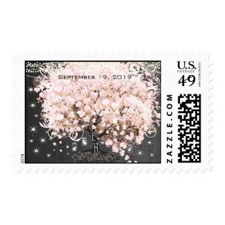 Light Pink Heart Leaf Tree Wedding Postage