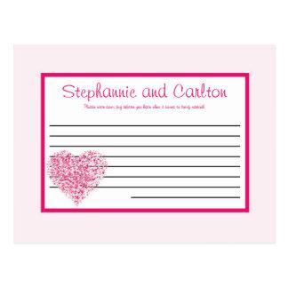 Light Pink Heart Wedding Writable Advice Card Postcard