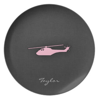 Light Pink Helicopter Dinner Plate