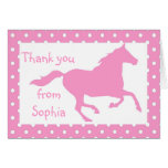 Light Pink Horse Birthday Thank You Note Card