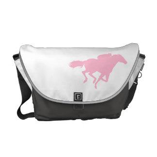 Light Pink Horse Racing Messenger Bags