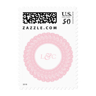 Light pink lace custom postage stamp