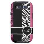 Light Pink Leopard and Zebra Monogram Animal Print Samsung Galaxy S3 Case