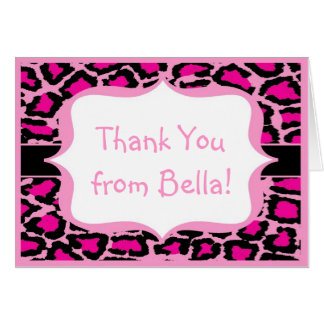 Light Pink Leopard Thank You Note Card