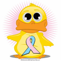 Light Pink & Light Blue Ribbon Duck Cutout
