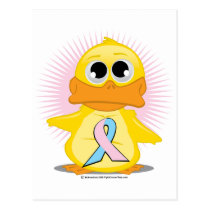 Light Pink & Light Blue Ribbon Duck Postcard