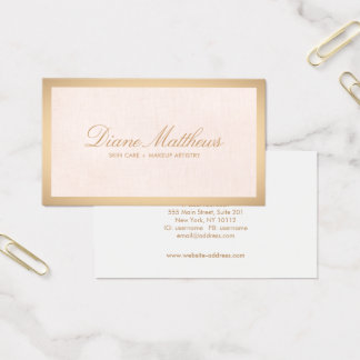 Light Pink Linen , Rose Gold Border Skin Care Spa Business Card