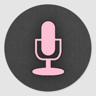Light Pink Microphone Classic Round Sticker