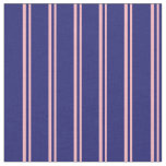[ Thumbnail: Light Pink & Midnight Blue Colored Lined Pattern Fabric ]