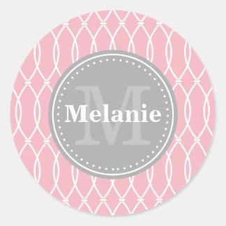 Light Pink Modern Lattice Pattern Grey Monogram Classic Round Sticker