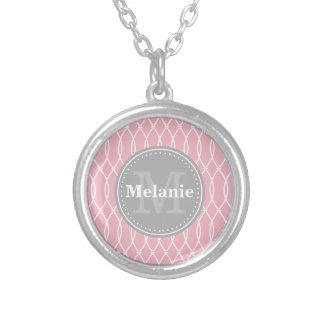 Light Pink Modern Lattice Pattern Grey Monogram Pendants