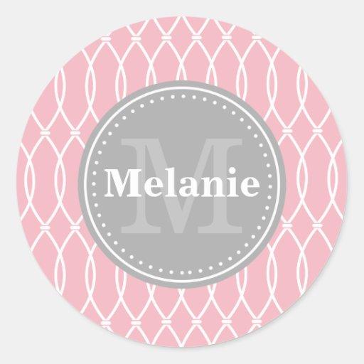 Light Pink Modern Lattice Pattern Grey Monogram Sticker