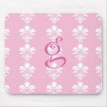 "Light Pink Mousepad White Damask ""g"""