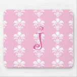 "Light Pink Mousepad White Damask ""j"""