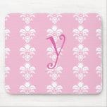 "Light Pink Mousepad White Damask ""y"""