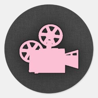 Light Pink Movie Camera Classic Round Sticker