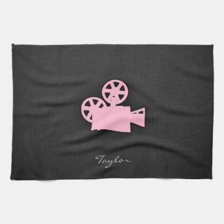 Light Pink Movie Camera Kitchen Towel