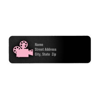 Light Pink Movie Camera Label