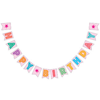LIGHT PINK MULTICOLORED ☆ HAPPY ☆ BIRTHDAY ☆ SIGN BUNTING FLAGS