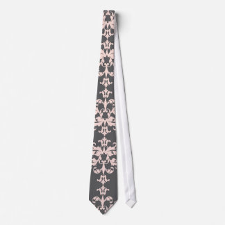 Light pink on Charcoal Grey Damask Pattern Neck Tie