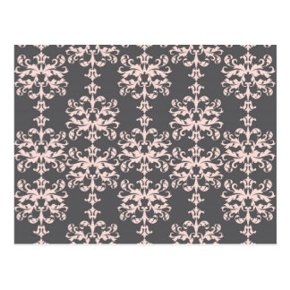 Light pink on Charcoal Grey Damask Pattern Postcard