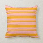 [ Thumbnail: Light Pink & Orange Stripes/Lines Pattern Pillow ]