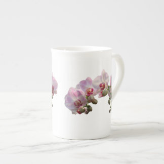 light pink orchid flowers tea cup