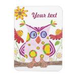 Light pink owl premium magnet rectangular magnets