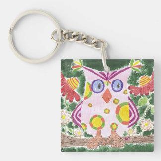 Light pink owl w/green background acrylic keychain