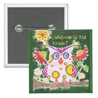 Light pink owl w/ green background custom button