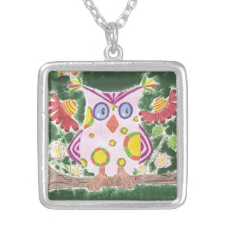 Light pink owl w/green background necklace