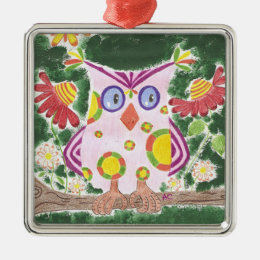 Light pink owl w/green background premium ornament