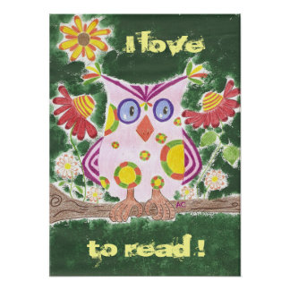 Light pink owl w/green background reading poster