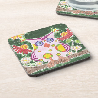 Light pink owl w/green background square coasters