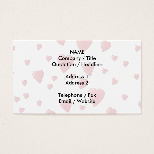 Light Pink Pattern of Love Hearts. Business Card