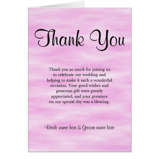 Light Pink Pattern Wedding Thank You Design. Stationery Note Card