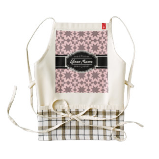 Light Pink Pattern with Black Personalized Name Zazzle HEART Apron