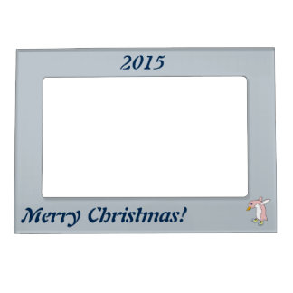 Light Pink Penguin with Yellow & Blue Ice Skates Magnetic Picture Frame