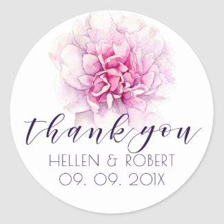 Light pink peony & thank you typography classic round sticker
