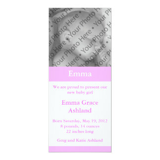 """Light Pink Photo Girl's Baby Birth Announcement 4"""" X 9.25"""" Invitation Card"""